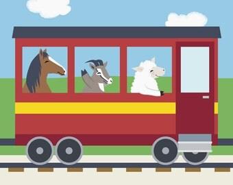 Train Nursery Art - Farm Animal Kids Wall Art - Horse, Goat, Sheep