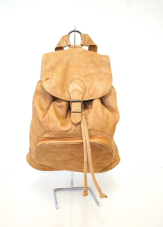 Vintage Leather Medium Drawstring Rucksack  / Backpack