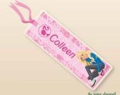 Barbie - Bookmark, Personalized Kids Bookmark, Personalized Bookmark, Kids Bookmark