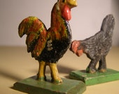 Vintage 1920s 1 Rooster and 1 Black Chicken from Erzgebirge Region of Germany. Hand carved. Hand painted. Primitive German Folk Art.