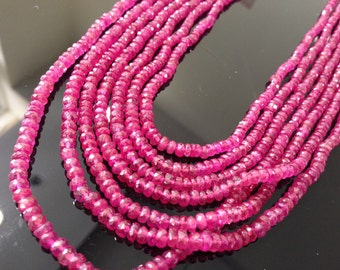 Super beautiful pink sapphire facet rondelle necklace 3-4 mm, 8 inches strand