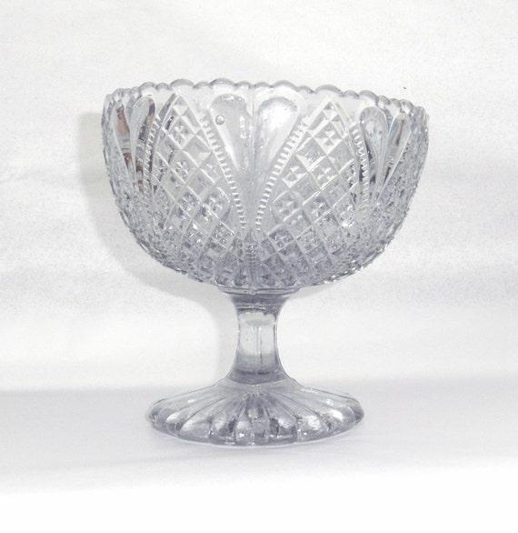 Antique Victorain pressed glass pedestal bowl