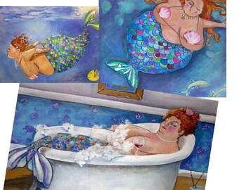 Fun BBW Mermaid bathroom art/ Mermaid lover Gift Set// Three unique mermaid prints on canvas