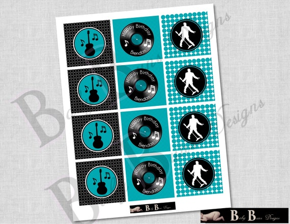 Rock & Roll Music Birthday Party Tags/Cupcake Toppers/Stickers- Printable or Shipped