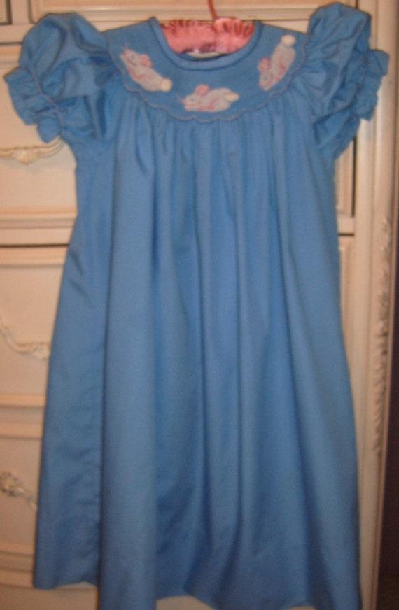50% OFF , Vintage Girls Smocked Bishop Dress, Size 5 T,  Easter Dress, Blue Smocked Dress, Bunny Rabbit