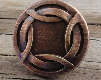 """2 Metal Buttons - Woven Rim - Antiqued Copper Buttons with shank - 3/4"""""""