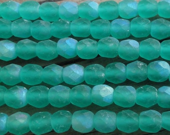 Matte Green with AB Finish Czech Glass Faceted 4mm Beads 16 inch Full Strand - Approx 100 Beads