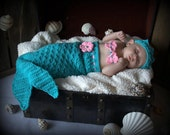 Crocheted Baby Photo Prop  Mermaid Princess Turquoise and Pink