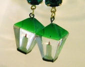 Upcycled Vintage Emerald Lucite St Patricks Day Candle Lantern Earrings