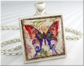 Butterfly Art Pendant Jewelry Red Purple Butterfly Necklace Resin Charm (058SS)