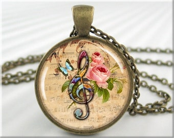 Treble Clef Pendant, Music Note Pendant, Resin Picture Jewelry, Music Staff Necklace, Gift For Musician, Gift Under 20 (312RB)