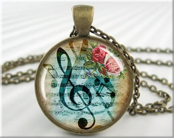 Musical Art Necklace Resin Pendant Charm Treble Clef Music Staff Picture Jewelry (390RB)
