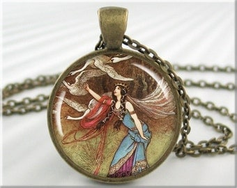 Fantasy Art Pendant Necklace Resin Charm Warwick Goble The Six Swans Fairy Tale Picture Jewelry (413RB)