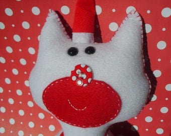 Stuffed White and Red Kitty Cat with Santa Hat Plush Plushie Softie Stuffed Animal  Ooak Christmas Gift Santa Claus