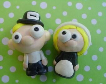 Cute Pilgrim Dolls Boy Girl Pilgrims Polymer Clay Small Miniature Holiday Thanksgiving Ooak Turkey Day