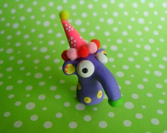 Purple Birthday Booga with Birthday Hat Polymer Clay Cute Pet Animal Mouse Ant Eater Surprise Ooak Miniature Figurine Gift Cake