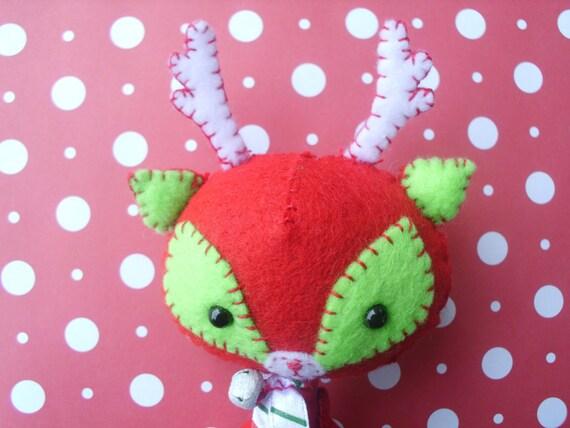 Stuffed Red and Green Deer Reindeer Plush Plushie Soft Softie Stuffed Animal Gingermelon Ginger Melon Christmas