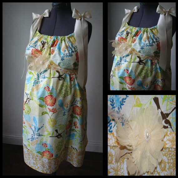 Maternity Hospital Gown - Colorful Flower and Bird Print, Yellow Band. Removable Feather Flower Broach