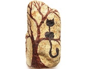 Home Decoration, Black Cat in a Tree, Painted Stone in Black and Brown, Inspired by my Neighbor's Cat Teasing my Dog, TAGT