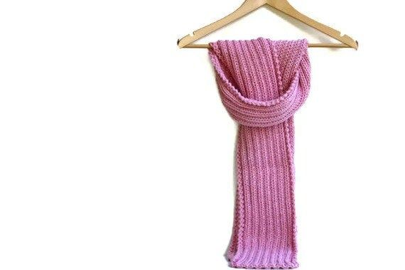 Pink Panther Hand Knit Merino Winter Scarf - Pink Panther Louet Gems Pure Wool Scarf - Perfect Mothers Day Gift