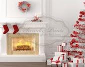 NEW ITEM 7ft x 8ft Vinyl Photography Backdrop / Custom Photography Prop / White Christmas Fireplace