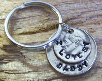 I love my daddy mommy custom family coin keychain keychain key ring fob hand-made of genuine U.S. dime and quarter coins.