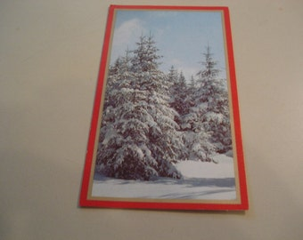 Vintage Nature Christmas Card. Snow Scene, Pine Tree