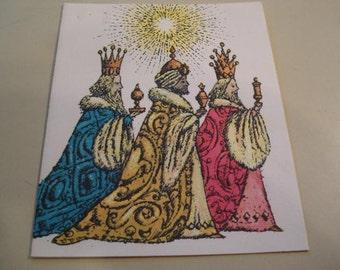 Vintage Three Kings Christmas Card, Holiday Card,  By Beni Montesor
