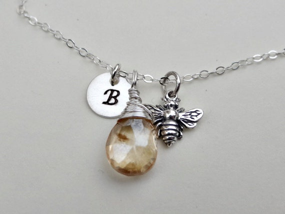 Bee necklace- STERLING SILVER honey bee jewelry, personalized initial, monogram letter charm, bumble bee, gemstone jewelry gift