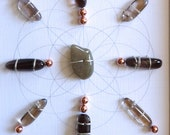 WALL ART Feng Shui Crystal Healing Grid Sacred Geometry Smoky Quartz and Copper