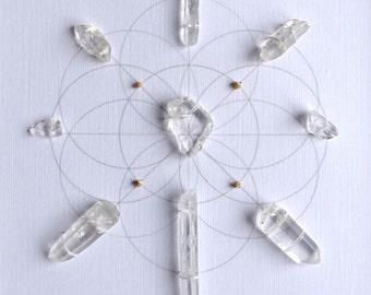 CLEAR ENERGIZE MANIFEST --- framed sacred crystal grid --- clear quartz