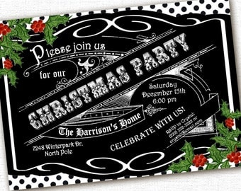 Christmas Chalkboard Party Invitation Custom 5 x 7 DIY Printable File