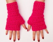 Pink Fingerless Crochet Gloves Bright Pink Chunky Half Glove Made in Ireland