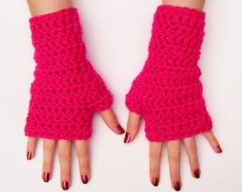 Pink Chunky Half Glove Crochet Fingerless Gloves Made in Ireland