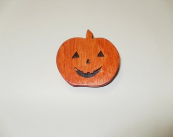 pumpkin  brooch colour  wood  scroll saw