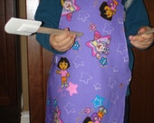 Girl's apron art smock purple Dora the Explorer