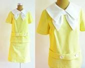 1960s Yellow Chevron Dress Sailor Mod Back to School Size: S/M