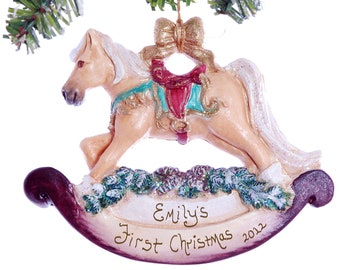 Babies First Christmas Ornament - Rocky Horse Ornament Personalized Free