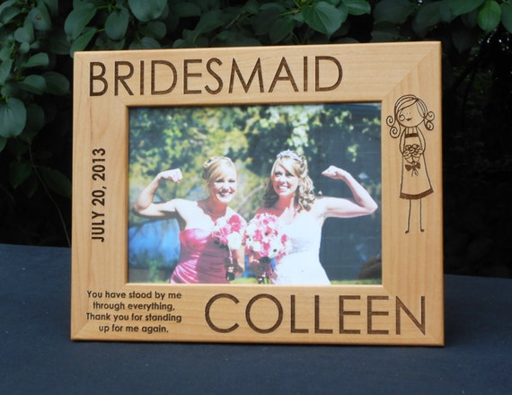 """4 Personalized Bridesmaid Picture Frames - 5"""" x 7"""" Maid of Honor & Flower Girl Also Available"""