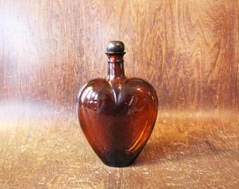 Vintage Heart Corked Glass Bottle