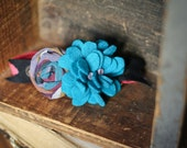 Reserved for Andrea- Indie Hydrangea Headband in Blue, Victoria's Tulle and Plum Rose and Blush Chocolate Headbands