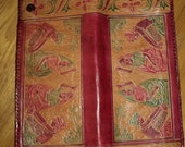 Vintage Red Embossed Leather Clutch  Billfold Style Purse  with Indian Goddess Shiva  Design Motif in Mint Condition, Never Been Used