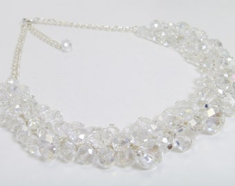 Beaded Crystal Necklace -  Beaded glass beads and crystals cluster beaded necklace, wedding, bridal, bridesmaids - Dazzle -
