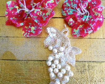 Sequined Fuschia Flower Pins