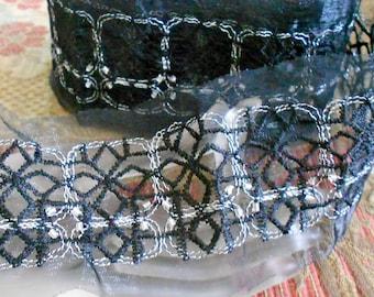 Black Soft Net Silver Stitched Beaded Trim