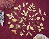 Metal Stamped Leaves, Brass Leaf Stampings, Vintage Style Metal Leaf Charms, Leaves, Made in USA ~ STA-039