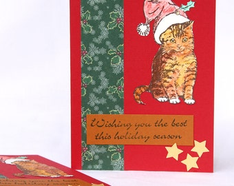 Santa Cat Christmas Cards, Boxed Set of 8 Handmade Notecards, Red Holiday Cards, Cat with Santa Hat, Holiday Greetings for Cat Lovers,