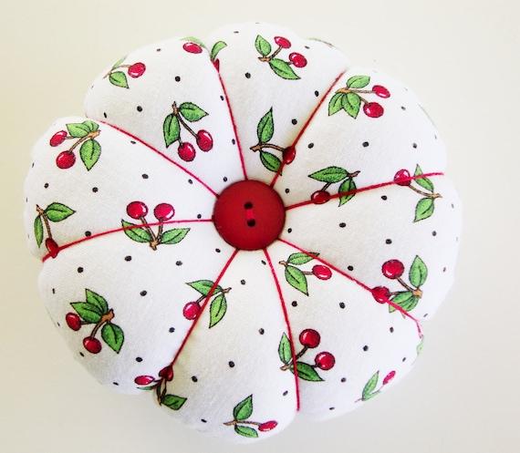 Pincushion -  Round Pincushion - Pin Cushion - Cherries