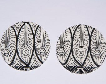 Large Stud Earrings - Fabric Covered Wood Earrings Tribal -White