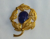 Vintage Blue Brooch with Gold tone Fillagree Leaf Design Lapis Stone Western Germany